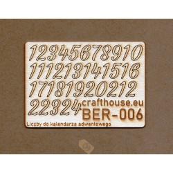 Liczby do kalendarza adwentowego 14 mm.